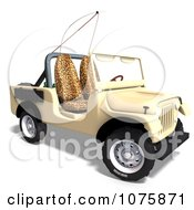 Clipart 3d Tan Jeep Wrangler Convertible SUV 1 Royalty Free CGI Illustration