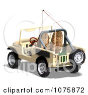 Clipart 3d Tan Jeep Wrangler Convertible SUV 2 Royalty Free CGI Illustration