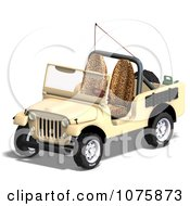 Clipart 3d Tan Jeep Wrangler Convertible SUV 3 Royalty Free CGI Illustration