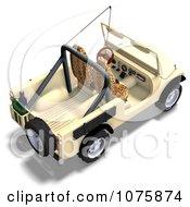 Clipart 3d Tan Jeep Wrangler Convertible SUV 4 Royalty Free CGI Illustration