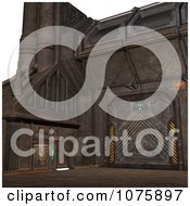 Clipart 3d Metal Science Fiction Hangar Interior With A Gate 1 Royalty Free CGI Illustration
