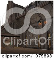 Clipart 3d Metal Science Fiction Hangar Interior With A Gate 2 Royalty Free CGI Illustration