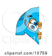 Clipart Picture Of A Blue Short Sleeved T Shirt Mascot Cartoon Character Peeking Around A Corner by Toons4Biz