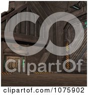Clipart 3d Metal Science Fiction Hangar Interior With A Gate 6 Royalty Free CGI Illustration