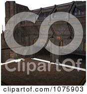 Clipart 3d Metal Science Fiction Hangar Interior With A Gate 7 Royalty Free CGI Illustration