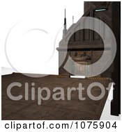 Clipart 3d Metal Science Fiction Hangar Interior With A Gate 8 Royalty Free CGI Illustration
