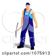 Clipart 3d Male Worker In Blue Overalls 2 Royalty Free CGI Illustration by Ralf61