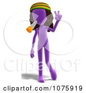 Clipart 3d Purple Person Hippie Smoking Royalty Free CGI Illustration
