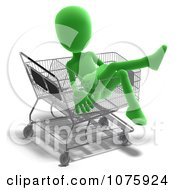 Clipart 3d Green Person Sitting In A Shopping Cart Royalty Free CGI Illustration