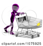 Clipart 3d Purple Person Pushing A Shopping Cart Royalty Free CGI Illustration
