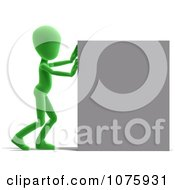 Clipart 3d Green Person Pushing A Sign Royalty Free CGI Illustration
