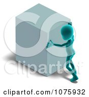Clipart 3d Blue Person Pushing A Cube Royalty Free CGI Illustration