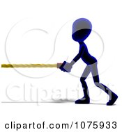 Clipart 3d Blue Person Pulling A Rope Royalty Free CGI Illustration