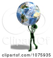 Clipart 3d Green Person Carrying Earth Royalty Free CGI Illustration