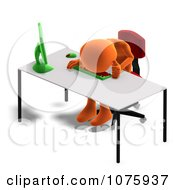 Clipart 3d Orange Person Crying At A Desk Royalty Free CGI Illustration