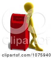 Clipart 3d Yellow Person Leaning Against A Mail Box Royalty Free CGI Illustration