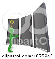 Clipart 3d Green Person In Front Of Three Doors Royalty Free CGI Illustration