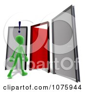 Clipart 3d Green Person In Front Of Three Doors With One Open Royalty Free CGI Illustration