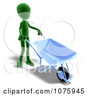 Clipart 3d Green Person Using A Wheelbarrow Royalty Free CGI Illustration