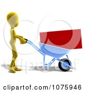 Clipart 3d Yellow Person Pushing An Envelope In A Wheelbarrow Royalty Free CGI Illustration