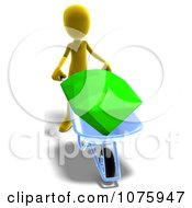Clipart 3d Yellow Person Pushing A Gem In A Wheelbarrow Royalty Free CGI Illustration