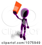 Clipart 3d Purple Person Holding An Envelope Royalty Free CGI Illustration