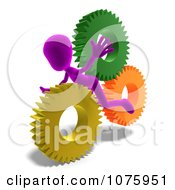 Clipart 3d Purple Person Caught In Gears Royalty Free CGI Illustration
