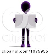 Clipart 3d Purple Person Holding A Sign 1 Royalty Free CGI Illustration