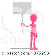 Clipart 3d Bright Pink Person Holding A Sign Royalty Free CGI Illustration