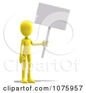 Clipart 3d Yellow Person Holding A Sign Royalty Free CGI Illustration