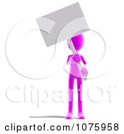 Clipart 3d Pink Person Holding A Sign Royalty Free CGI Illustration