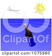 Clipart Floating Bottle In The Ocean Royalty Free CGI Illustration by Ralf61