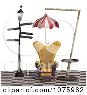 Clipart 3d Chair At A Weird Bus Stop 2 Royalty Free CGI Illustration