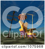 Clipart 3d Chair At A Weird Bus Stop 7 Royalty Free CGI Illustration by Ralf61