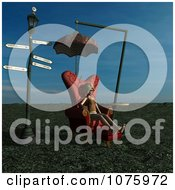 Clipart 3d Woman In A Chair At A Weird Bus Stop 2 Royalty Free CGI Illustration by Ralf61