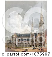 Horses Carriages And People Near The Cathedral Of The Holy Cross Boston Massachusetts Royalty Free Historical Clip Art