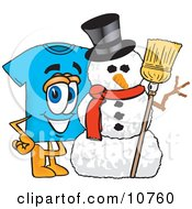 Clipart Picture Of A Blue Short Sleeved T Shirt Mascot Cartoon Character With A Snowman On Christmas by Toons4Biz