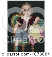 Little Boy Or Girl Sitting In A Chair Holding A Riding Crop And Hat Royalty Free Illustration