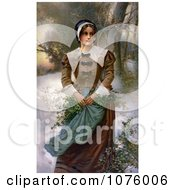 Pretty Puritan Woman Holding Holly In Her Apron While Standing In The Snow Royalty Free Historical Clip Art