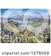 Panoramic Drawing Of Yellowstone National Park By Heinrich Berann Royalty Free Historical Clip Art