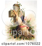 Woman Draped On A Cross Covered With Vines Royalty Free Historical Clip Art