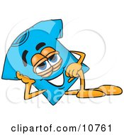 Clipart Picture Of A Blue Short Sleeved T Shirt Mascot Cartoon Character Resting His Head On His Hand by Toons4Biz