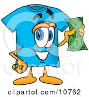 Blue Short Sleeved T Shirt Mascot Cartoon Character Holding A Dollar Bill