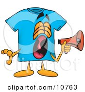 Blue Short Sleeved T-Shirt Mascot Cartoon Character Screaming Into A Megaphone