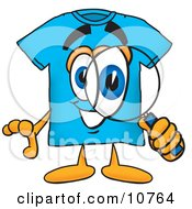 Clipart Picture Of A Blue Short Sleeved T Shirt Mascot Cartoon Character Looking Through A Magnifying Glass by Toons4Biz