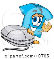 Clipart Picture Of A Blue Short Sleeved T Shirt Mascot Cartoon Character With A Computer Mouse by Toons4Biz