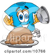 Clipart Picture Of A Blue Short Sleeved T Shirt Mascot Cartoon Character Serving A Thanksgiving Turkey On A Platter by Toons4Biz