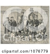 DL Moody And JV Farwell Standing Behind A Group Of 14 Boys On A Street In Front Of A Building Royalty Free Historical Clip Art by JVPD