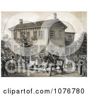 Villagers Greeting Abraham Lincoln On Horseback In Front Of His House In Springfield Illinois Royalty Free Historical Clip Art by JVPD
