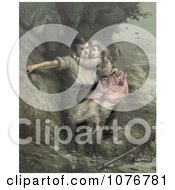 Man Rescuing A Girl Possibly His Daugher From A Shipwreck In A Stormy Sea C 1878 Royalty Free Historical Clip Art by JVPD